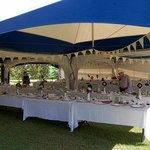 Different view of tables/chairs in tent...alter behind me to the right.