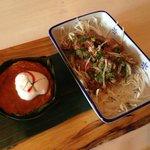 Steamed thai fish custard and angus beef salad