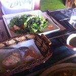 Tuna salad, (free!) bread and amazing Italian dressing