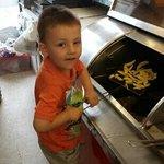 Joseph frying Daddy's chip's yum yum :)