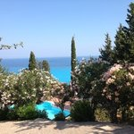 beautiful view from the lower terrace over the swimming pool and the Ionian Sea