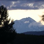 View of distant Mount Shasta from rear lot.