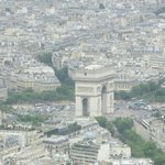 View of Arc de Triomphe from Eiffel Tower. Hotel Galileo is in this picture in the lower right.