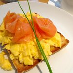 Smoked salmon and scrambled eggs for breakfast
