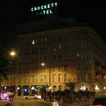 Crockett Hotel at night