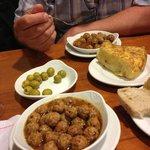 Meat balls - Spanish omelete - Stuffed olives