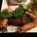 delicious steak and gambas!!