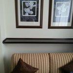 o sofá com uma prateleira acima