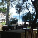 Looking to the beach from the Limnonari Taverna