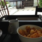 Desayuno en la palapa del jardín