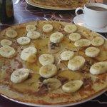 Pancake with apples and bananas