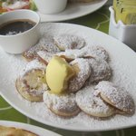 Poffertjes with traditional powder and butter....we added the chocolate (awesome to dip into)