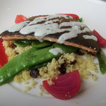 Ontario Trout on Couscous, vegetables and fruits