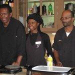 The amazing kitchen crew...James, Lakeshia and Mario