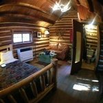'fish-eye' view of inside of cabin