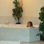 Enjoying the jacuzzi tub