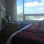 Lounging by the window in room 803