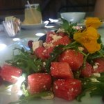 Watermelon, goat cheese, arugula