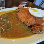 tonkatsu curry with sunny side up and spinach