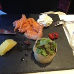 Home cured salmon with horseradish cream (starter)