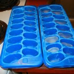 Flimsey ice trays. Pic taken right after refilling. H2O all gone.