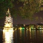 Pagoda lit up at night