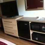 Flat-panel TV, fridge, microwave