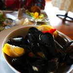 PEI Mussels, Ramp Butter, White Wine, Extra Bread!
