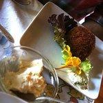 Scotched Duck Egg, Chorizo, Cilantro Crème Fraiche