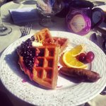 Waffles with Blueberry Sauce = Perfection