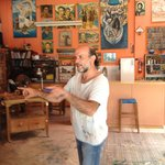 The unscheduled stop at the artist's studio, where we discussed paintings