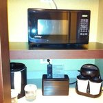 Microwave and coffee station in room