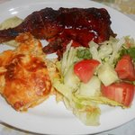 BBQ chicken with delicious baked mac n cheese