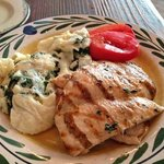 grilled chicken with eggs with spinach. brunch menu