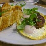 Foie gras with a hen's egg.