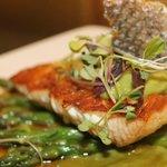 Pan Seared Salmon with Miso Snow Pea Puree and Teriyaki Reduction