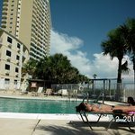 Pool in front of Tides building. Tides building and Condos in back drop.