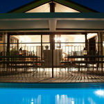 Villa 1 pool view at night