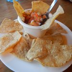 Chips with beans and salsa