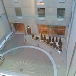 view out window of parking entrance/lobby area