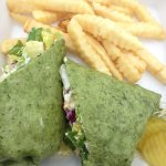Chicken salad wrap and fries