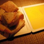 Bread with seasoned extra virgin olive oil