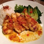 Butterfish with bok choy, rice & tumeric chili sauce