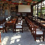Covered tables and projection screen