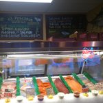 The fresh fish counter and the menu