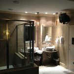 Bathroom with full walk-in shower and sauna