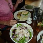 Blue fish cakes with eggs; salad with fennel & beets, Oyster po-boy