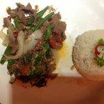 Popular Khmer dish Char Kdao Chicken $3