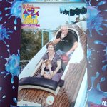 On the log flume ride with Grandma and Grandpa