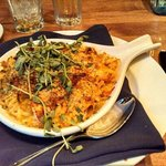 Lobster macaroni.  Has 1-2 lobster claws of meat inside - huge pieces!  They make their own past
